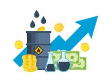 Growth, fall in prices for gasoline and oil, investments, management. Stock Image