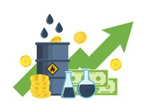 Growth, fall in prices for gasoline and oil, investments, management. Royalty Free Stock Photos