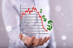 Concept of stock market crash Royalty Free Stock Image