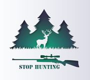 Concept of stop hunting animal. Concept of stop hunting animal with rifle and deer , Paper art and digital craft style royalty free illustration