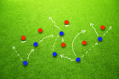 Concept strategy plan for soccer game Stock Photos