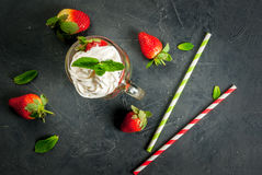 Concept of strawberry smoothie Stock Photos