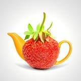 Concept strawberry teapot Stock Photo