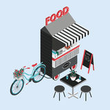 Concept of street food. Bicycle kiosk, foodtruck, portable cafe on wheels. Isometric illustration with fastfood point of Stock Photo