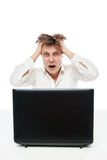 Concept of stressed busibnessman at work Royalty Free Stock Photos