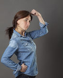 Concept of strong middle aged woman for sexy modern power Stock Photo
