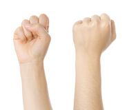 Concept for struggle sign. Made with hands isolated on white stock photography