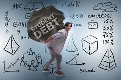 The concept of student loan and expensive education. Concept of student loan and expensive education stock illustration