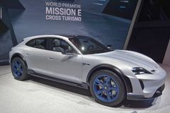 88th Geneva International Motor Show 2018 - Porsche Mission E Cross Turismo Concept royalty free stock photo
