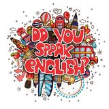 Concept of studying English or travelling. Letters Do you speak English with set of England icons in cartoon doodle pop. Art style. Vector illustration with vector illustration