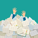 Concept of studying. Student buried under a pile of books, textbooks and papers. Flat design, vector illustration Vector Illustration