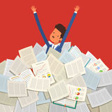 Concept of studying. Student buried under a pile of books, textbooks and papers. Flat design, vector illustration Stock Images