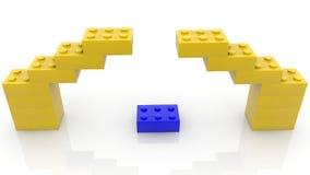 Concept stuk speelgoed bakstenen in gele en blauwe kleuren stock illustratie