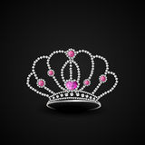 Concept of stylish diamond crown. Diamond crown decorative with jewel and pink sapphire on black background Stock Photo
