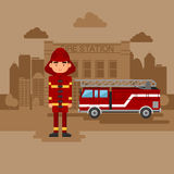 Concept on the subject of the fire station. Fire station with a car and a fireman Royalty Free Stock Photography