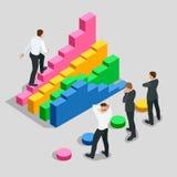 Concept succes en bepaling in zaken Zakenman die in zwart kostuum de treden van succes beklimmen Vlakke 3d Stock Afbeelding