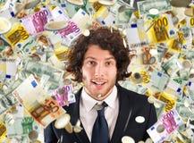 Concept succes en carrière met regenachtige bankbiljetten Stock Fotografie