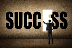 Concept of success. Asian business man with text Royalty Free Stock Photography