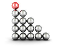 Concept success balls ladder chart with red top leader. 3d Stock Photography