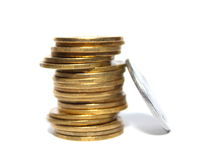 Concept Success in Business with Stack of Gold Coins Stock Photos