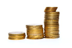 Concept Success in Business with Stack of Gold Coins Royalty Free Stock Image