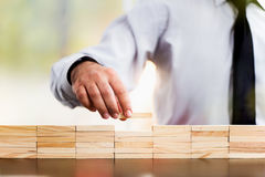 Concept For Success In Business. With Wooden Toy Blocks Stock Photography