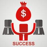 Concept of success. Businessman raises money bag over his head.  Royalty Free Stock Photo