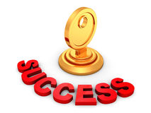 Concept success golden key in keyhole Stock Photos
