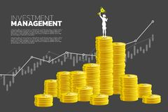 Silhouette of businesswoman with winner trophy standing on top of and growth graph with stack of coin. royalty free illustration