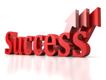 Concept success text letters with growing red arrows background. 3d Royalty Free Stock Photo