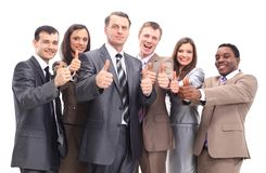 Successful business team with thumbs up Royalty Free Stock Photography