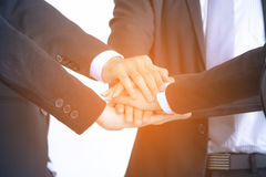 Concept Successful Business Group of hands Cooperate. In office stock photography