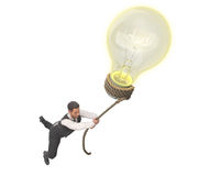 Concept of a successful idea The bulb pulls the person up 3d ren. Der on Royalty Free Stock Photo