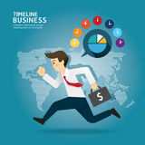 Concept of successful Timeline businessman cartoon run design. Stock Image