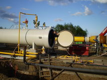 Concept of successful work. Construction of  gas pipeline on the ground Stock Images