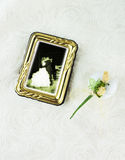 Concept with sugared almond. Photograph in frame of a bride and groom kissing and sugared almond decorated as flowers stock image