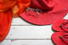 Concept of summer accessories on wood Stock Photos