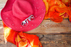 Concept of summer accessories on wood Stock Photo