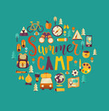 Concept of summer camp. Summer Camp Holiday and Travel themed. Camp poster in flat style, illustration. Handdrawn Lettering stock illustration