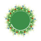 Summer. Signboard round on white background. Concept Summer. In the center round green signboard around the field grass, herbs and flowers. Place for text. On Royalty Free Stock Photo