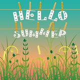 Concept Summer. Evening sky, field grass. Letters on clothespins on a rope. Text - Hello summer Stock Images