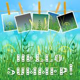Concept Summer. Sky, blur, field grass. Summer photos on clothespins on a rope. You can insert your photos. Text - Hello summer Stock Photo