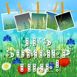 Concept Summer. Sky, blur, field grass. Concept Summer. Sky, blur, meadow with herbs and flowers. Summer photos on clothespins on a rope. You can insert your Stock Photography