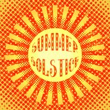 Concept Summer Solstice. Pop art style. Stylized sun and rays. Red and Yellow royalty free illustration