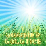 Concept Summer Solstice. Sky, blur, field grass, sun, the lights of a sun. Lettering. Concept Summer Solstice. Sky, blur, field grass, sun, the lights of a sun Royalty Free Stock Photo
