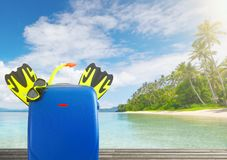 Concept of summer travelling with colorful suitcase and accessor Stock Image