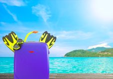 Concept of summer travelling with colorful suitcase and accessor Royalty Free Stock Image