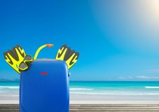 Concept of summer travelling with colorful suitcase and accessor Stock Photography