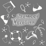 Concept of summer vacations doodle set. Royalty Free Stock Photography
