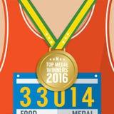 Concept supérieur de compétition sportive du gagnant de la médaille 2016 Photo stock